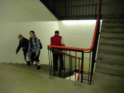 Sicherheitsmangel im Treppenhaus der St. Galler Messe, nur einseitiger Handlauf
